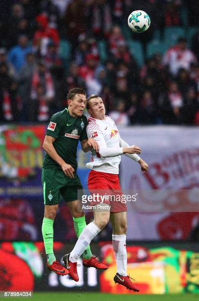 Marcel Halstenberg of RB Leipzig in action during the Bundesliga match between RB Leipzig and SV Werder Bremen at Red Bull Arena on November 25 2017...