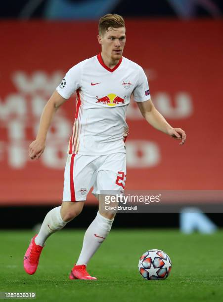 Marcel Halstenberg of RB Leipzig in action during the UEFA Champions League Group H stage match between Manchester United and RB Leipzig at Old...