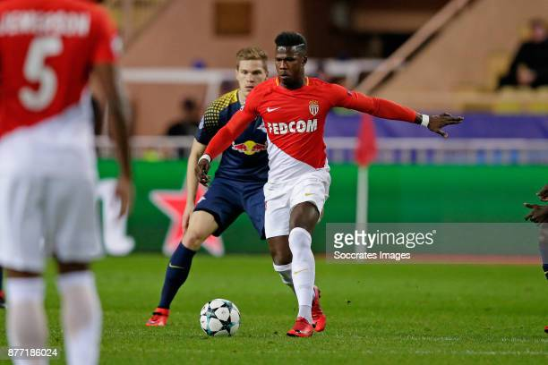 Marcel Halstenberg of RB Leipzig Keita Balde of AS Monaco during the UEFA Champions League match between AS Monaco v RB Leipzig at the Stade Louis II...