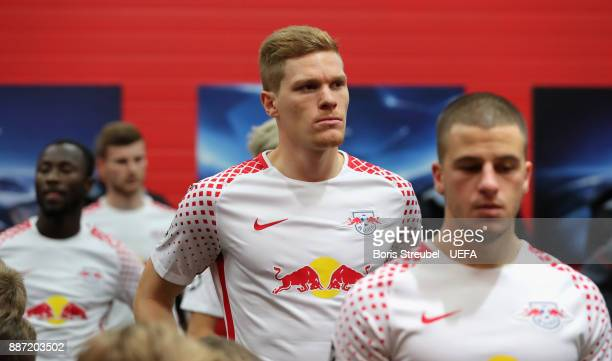 Marcel Halstenberg of RB Leipzig looks on in the players tunnel prior to the UEFA Champions League group G match between RB Leipzig and Besiktas at...