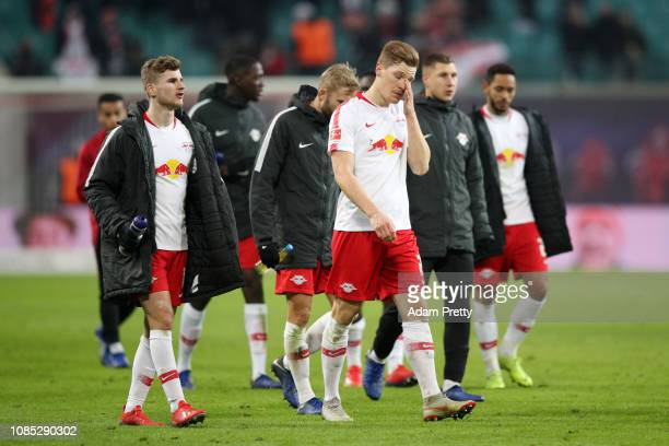 Marcel Halstenberg of RB Leipzig reacts after loosing the Bundesliga match between RB Leipzig and Borussia Dortmund at Red Bull Arena on January 19,...