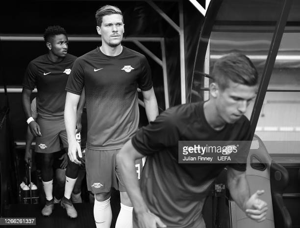 Marcel Halstenberg of RB Leipzig walks out prior to the UEFA Champions League Quarter Final match between RB Leipzig and Club Atletico de Madrid at...