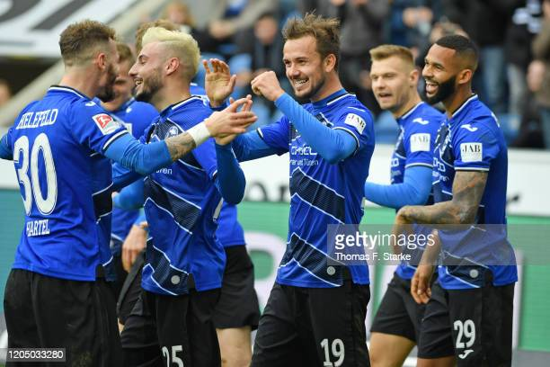 Marcel Hartel Jonathan Clauss Manuel Prietl Florian Hartherz and Cebio Soukou of Bielefeld celebrate their teams third goal during the Second...