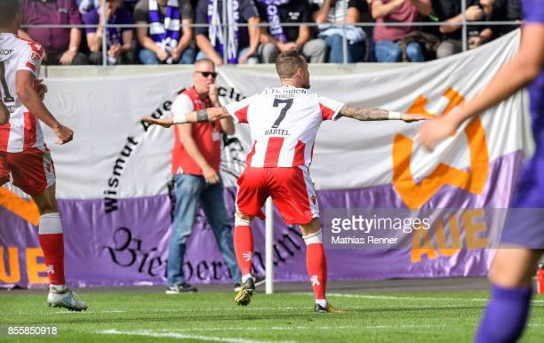 Marcel Hartel of 1 FC Union Berlin celebrates after scoring the 0:1 during the game between FC Erzgebirge Aue and FC Union Berlin on september 30,...