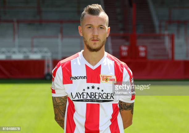 Marcel Hartel of 1 FC Union Berlin poses during the team presentation at Stadion an der Alten Foersterei on July 17 2017 in Berlin Germany