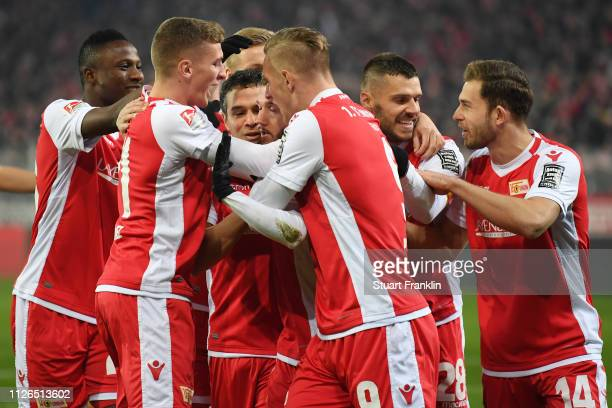 Marcel Hartel of Berlin celebrates his team's first goal with team mates during the Second Bundesliga match between 1 FC Union Berlin and 1 FC Koeln...