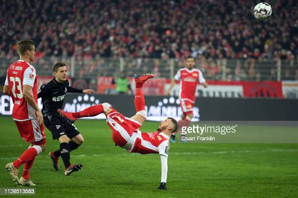 Marcel Hartel of Berlin scores his team's first goal during the Second Bundesliga match between 1 FC Union Berlin and 1 FC Koeln at Stadion An der...