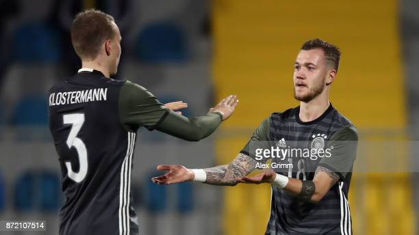 Marcel Hartel of Germany celebrates his team's fifth goal with team mate Lukas Klostermann during the UEFA Under21 Euro 2019 Qualifier match between...