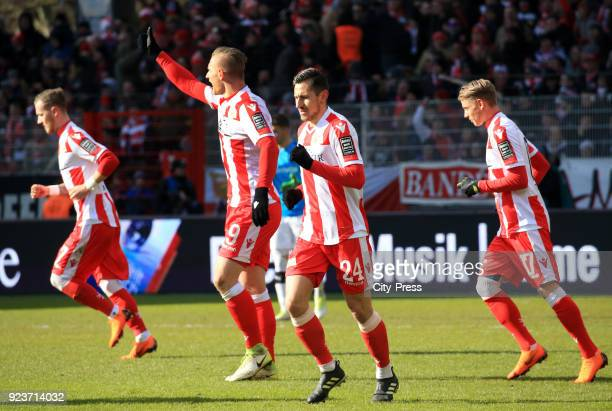 Marcel Hartel Sebastian Polter Steven Skrzybski and Simon Hedlund of 1 FC Union Berlin celebrate after scoring the 20 during the second Bundesliga...