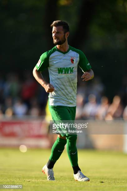 Marcel Heller of Augsburg looks on during the preseason friendly match between SC Olching and FC Augsburg on July 19 2018 in Olching Germany