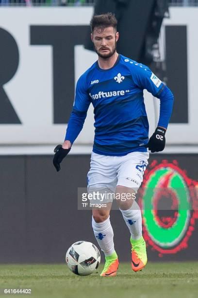 Marcel Heller of Darmstadt controls the ball during the Bundesliga match between SV Darmstadt 98 and Borussia Dortmund at Jonathan Heimes Stadion am...
