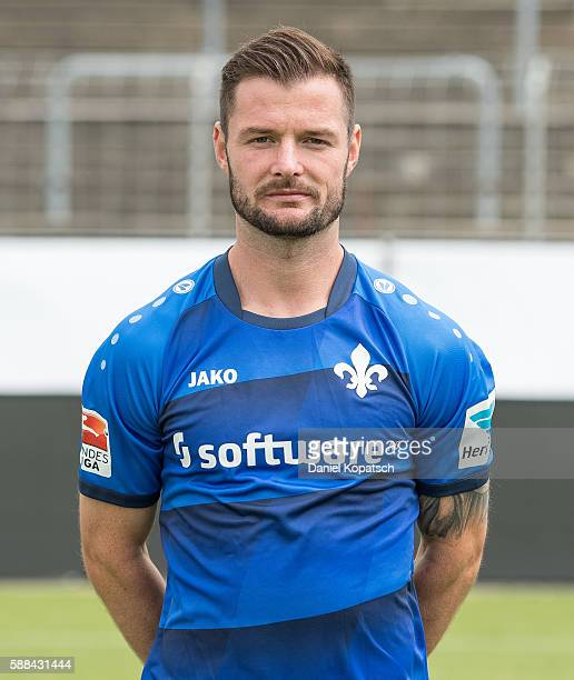 Marcel Heller poses during the Darmstadt 98 Team Presentation on August 11 2016 in Darmstadt Germany