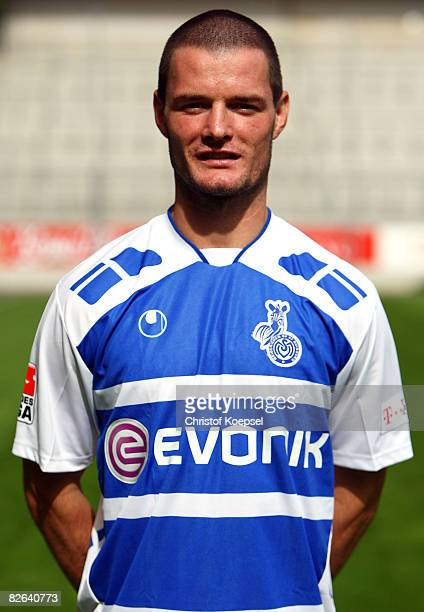 Marcel Heller poses during the MSV Duisburg team presentation at the MSV Arena on September 3 2008 in Duisburg Germany