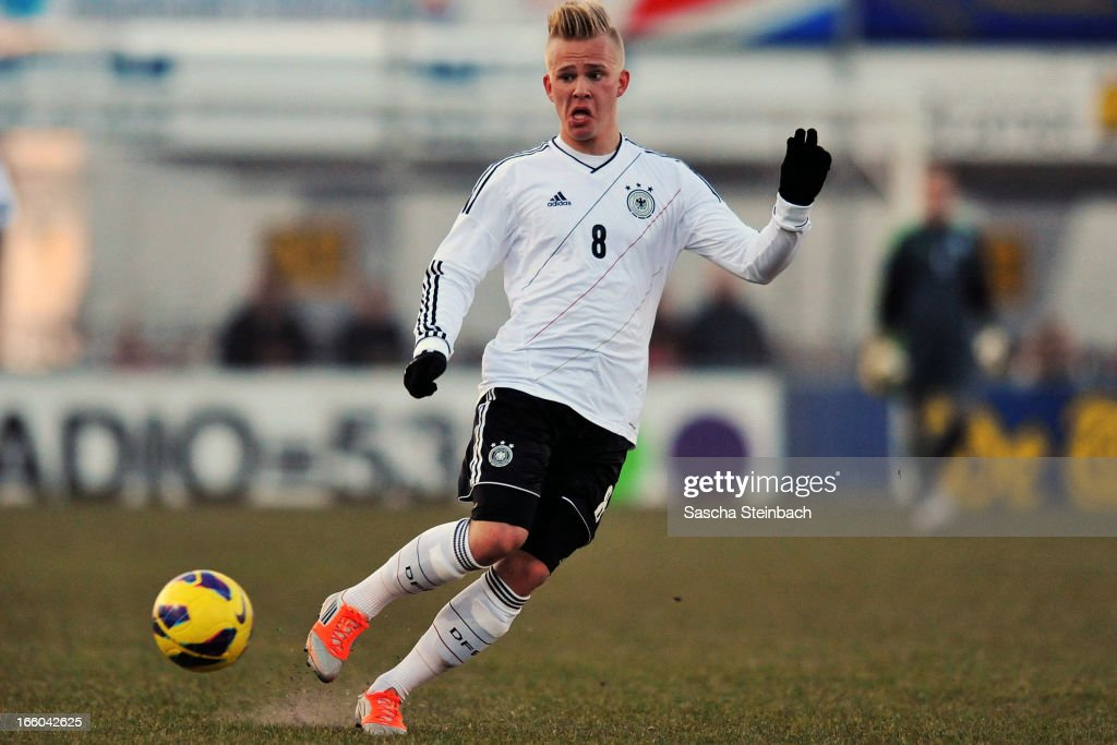 Marcel Hilssner of Germany runs with the ball during the U18 International Friendly match between The Netherlands and Germany on March 26, 2013 in Vriezenveen, Netherlands.