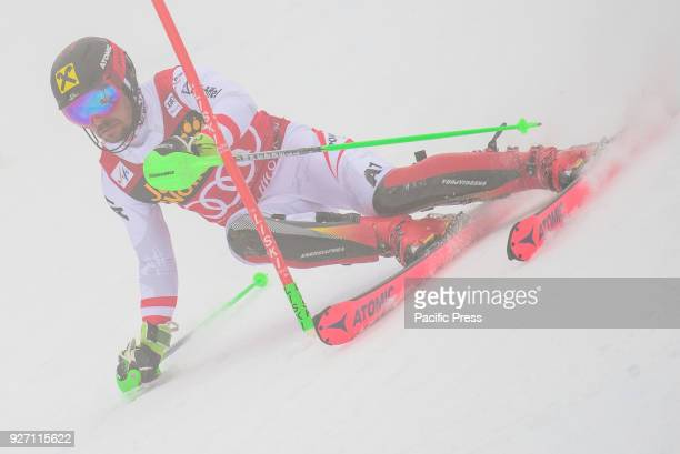 Marcel Hirscher Austria competes during the Slalom race at the Vitranc Cup FIS World Cup