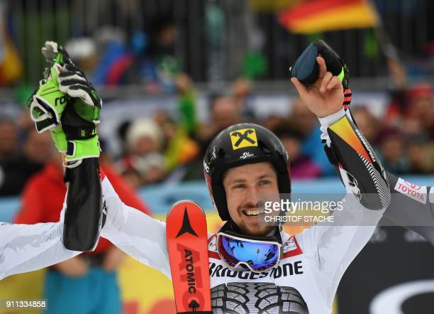 Marcel Hirscher celebrates victory in the men's Giant Slalom at the FIS Alpine Skiing World Cup in GarmischPartenkirchen southern Germany on January...