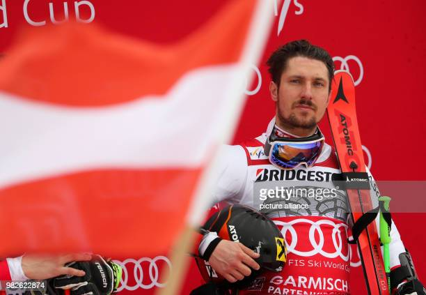 Marcel Hirscher from Austria during the award ceremony of the giant slalom competition at the FIS Alpine Ski World Cup in GarmischPartenkirchen...