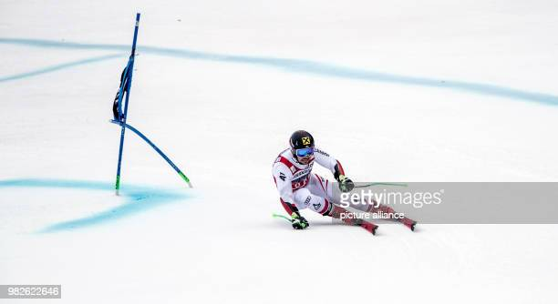 Marcel Hirscher from Austria during the giant slalom competition of the FIS Alpine Ski World Cup in GarmischPartenkirchen Germany 28 January 2018...