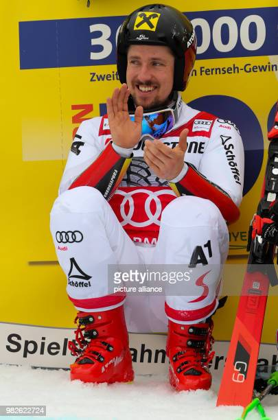 Marcel Hirscher from Austria is visibly happy after the giant slalom competition of the FIS Alpine Ski World Cup in GarmischPartenkirchen Germany 28...