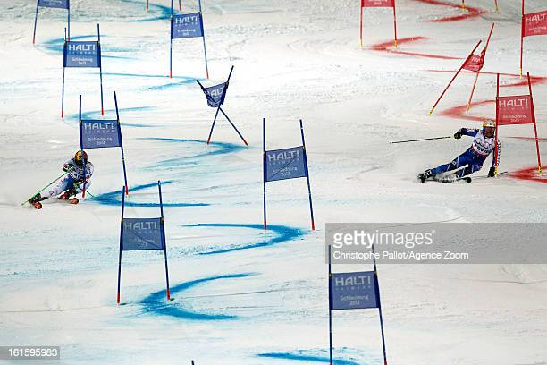 Marcel Hirscher of Austria and Mattias Hargin of Sweden compete during the Audi FIS Alpine Ski World Championships Nation's Team Event on February 12...