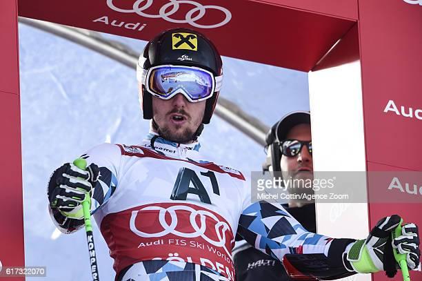 Marcel Hirscher of Austria at the start during the Audi FIS Alpine Ski World Cup Men's Giant Slalom on October 23 2016 in Soelden Austria