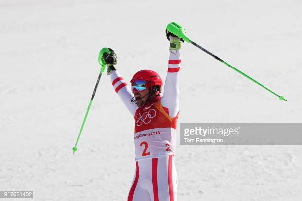 Marcel Hirscher of Austria celebrates at the finish during the Men's Alpine Combined Slalom on day four of the PyeongChang 2018 Winter Olympic Games...