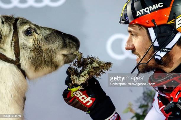 Marcel Hirscher of Austria celebrates during the Audi FIS Alpine Ski World Cup Men's Slalom on November 18 2018 in Levi Finland