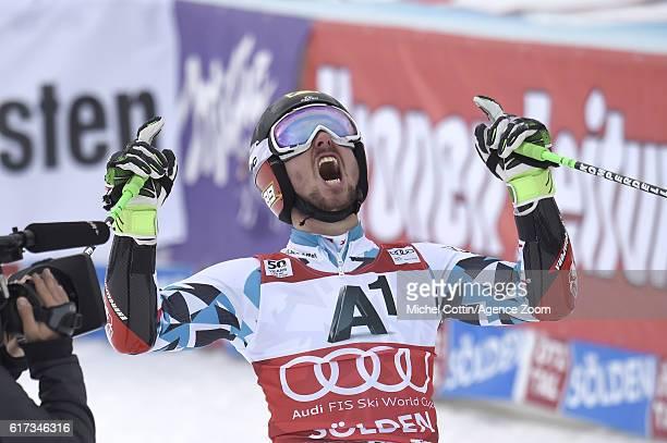 Marcel Hirscher of Austria celebrates during the Audi FIS Alpine Ski World Cup Men's Giant Slalom on October 23 2016 in Soelden Austria