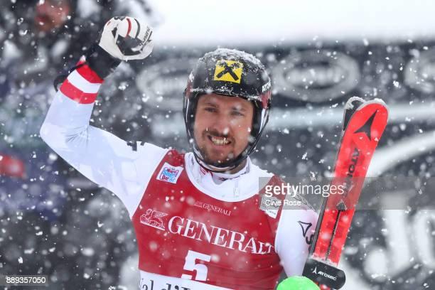 Marcel Hirscher of Austria celebrates winning the Audi FIS Alpine Ski World Cup Men's Slalom on December 10 2017 in Vald'Isere France