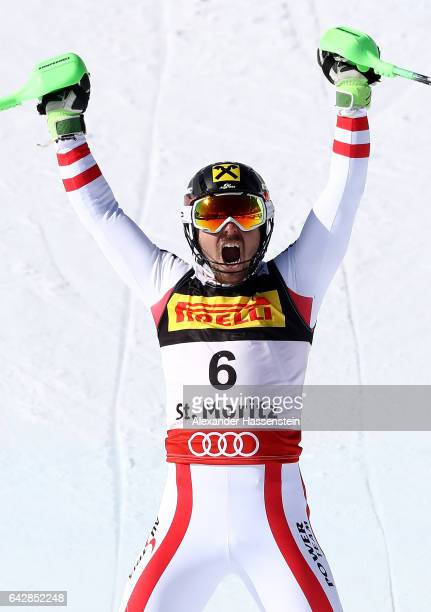 Marcel Hirscher of Austria celebrates winning the gold medal in the Men's Slalom during the FIS Alpine World Ski Championships on February 19 2017 in...