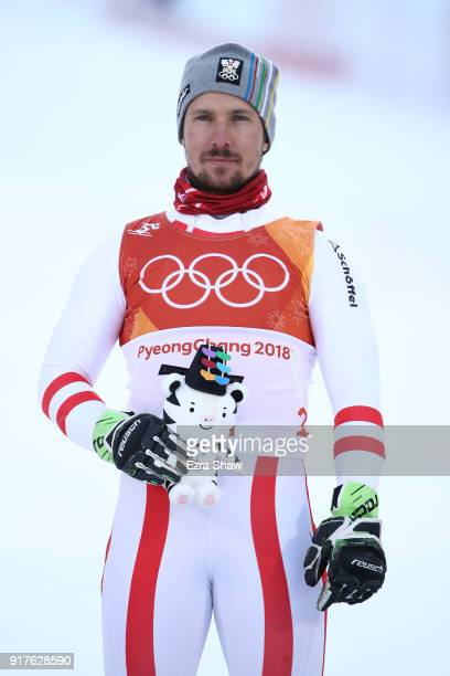 Marcel Hirscher of Austria celebrtates winning gold on the podium following the Men's Alpine Combined Slalom on day four of the PyeongChang 2018...