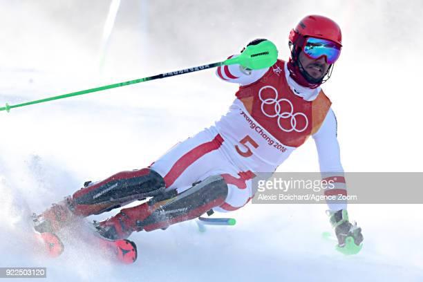 Marcel Hirscher of Austria competes during the Alpine Skiing Men's Slalom at Yongpyong Alpine Centre on February 22 2018 in Pyeongchanggun South Korea