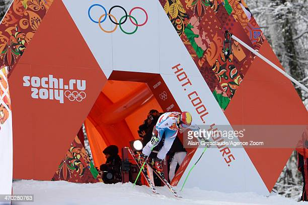 Marcel Hirscher of Austria competes during the Alpine Skiing Men's Giant Slalom at the Sochi 2014 Winter Olympic Games at Rosa Khutor Alpine Centre...
