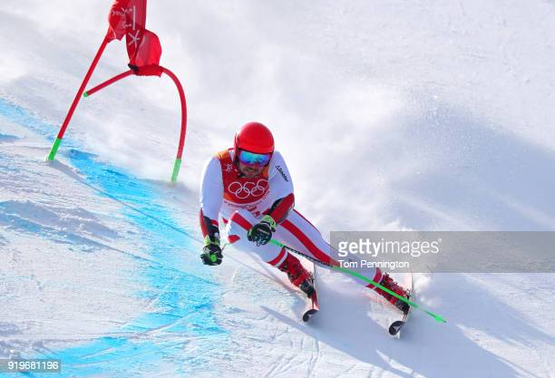 Marcel Hirscher of Austria competes during the Alpine Skiing Men's Giant Slalom on day nine of the PyeongChang 2018 Winter Olympic Games at Yongpyong...