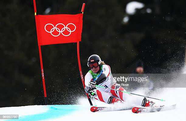 Marcel Hirscher of Austria competes during the Alpine Skiing Men's Giant Slalom on day 12 of the Vancouver 2010 Winter Olympics at Whistler Creekside...