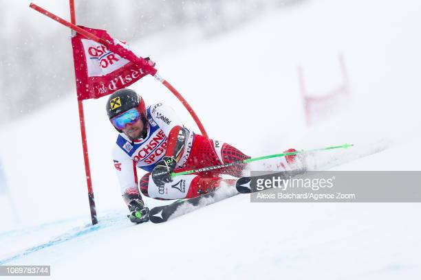 Marcel Hirscher of Austria competes during the Audi FIS Alpine Ski World Cup Men's Giant Slalom on December 8 2018 in Val d'Isère France