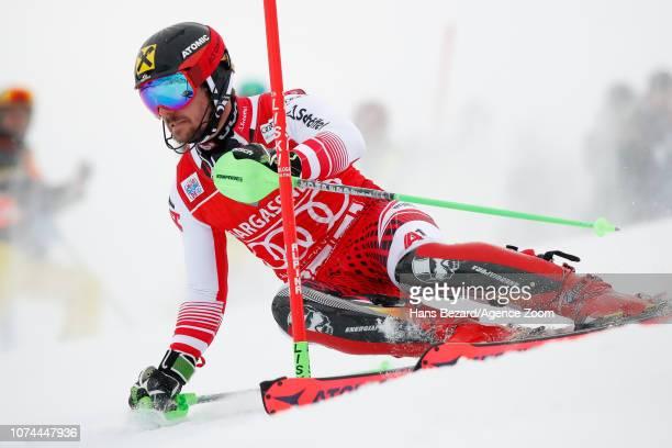 Marcel Hirscher of Austria competes during the Audi FIS Alpine Ski World Cup Men's Slalom on December 20 2018 in Saalbach Austria