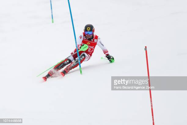Marcel Hirscher of Austria competes during the Audi FIS Alpine Ski World Cup Men's Slalom on December 20 2018 in Saalbach Austria