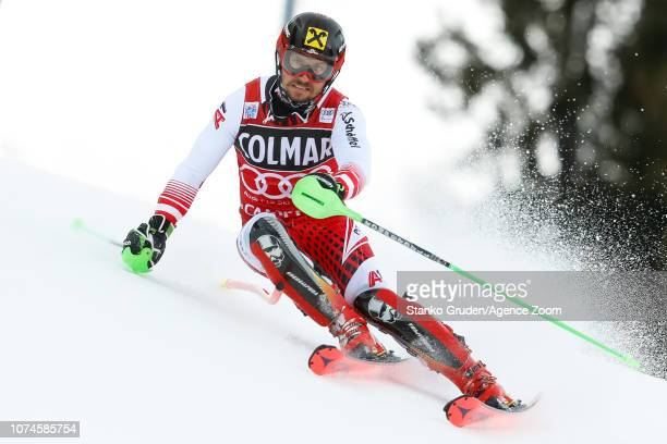 Marcel Hirscher of Austria competes during the Audi FIS Alpine Ski World Cup Men's Slalom on December 22 2018 in Madonna di Campiglio Italy