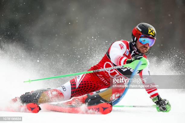 Marcel Hirscher of Austria competes during the Audi FIS Alpine Ski World Cup Men's Slalom on January 6 2019 in Zagreb Croatia
