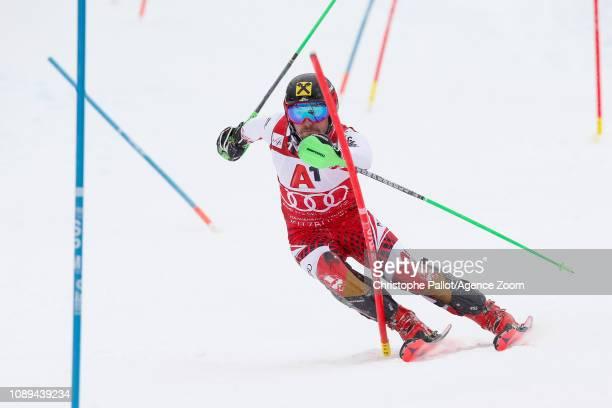 Marcel Hirscher of Austria competes during the Audi FIS Alpine Ski World Cup Men's Slalom on January 26, 2019 in Kitzbuehel Austria.