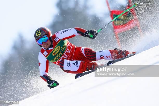 Marcel Hirscher of Austria competes during the Audi FIS Alpine Ski World Cup Men's Giant Slalom on March 9 2019 in Kranjska Gora Slovenia