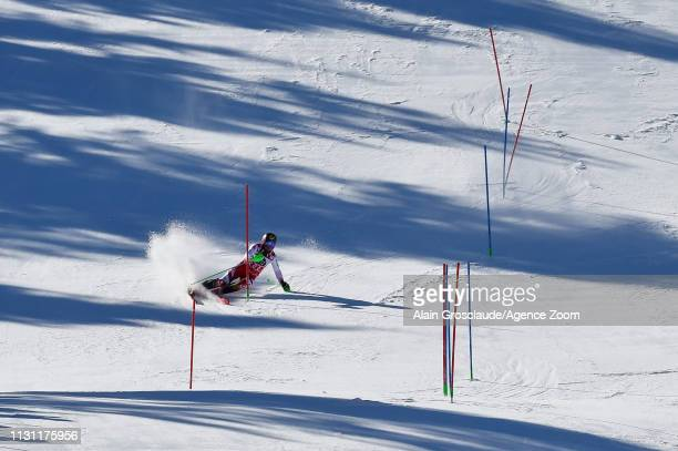 Marcel Hirscher of Austria competes during the Audi FIS Alpine Ski World Cup Men's Slalom and Women's Giant Slalom on March 17, 2019 in Soldeu...