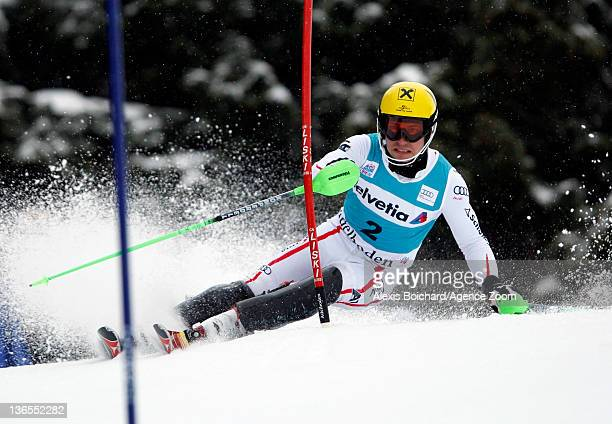 Marcel Hirscher of Austria competes during the Audi FIS Alpine Ski World Cup Men's Slalom on January 08 2012 in Adelboden Switzerland