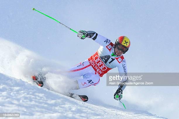 Marcel Hirscher of Austria competes during the Audi FIS Alpine Ski World Cup Men's Giant Slalom on October 28 2012 in Solden Austria