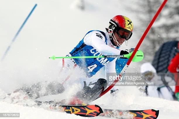 Marcel Hirscher of Austria competes during the Audi FIS Alpine Ski World Cup Men's Slalom December 08 2012 in Val d'Isere France