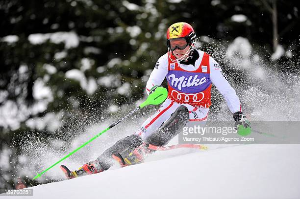 Marcel Hirscher of Austria competes during the Audi FIS Alpine Ski World Cup Men's Slalom on January 20 2013 in Wengen Switzerland
