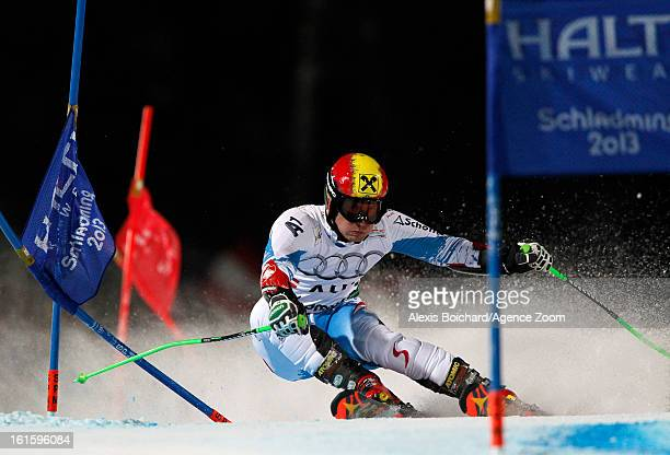Marcel Hirscher of Austria competes during the Audi FIS Alpine Ski World Championships Nation's Team Event on February 12 2013 in Schladming Austria