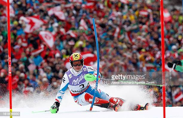 Marcel Hirscher of Austria competes during the Audi FIS Alpine Ski World Championships Men's Slalom on February 17 2013 in Schladming Austria