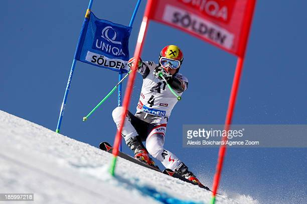 Marcel Hirscher of Austria competes during the Audi FIS Alpine Ski World Cup Men's Giant Slalom on October 27 2013 in Soelden Austria